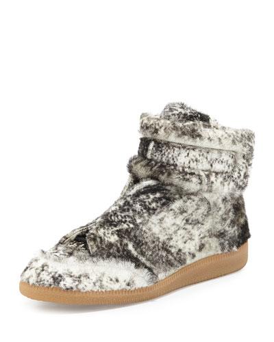 Future Calf-Hair High-Top Sneaker, Black/White