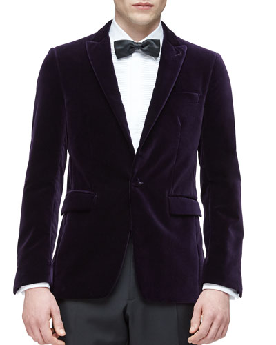 Peak Lapel Velvet Evening Jacket, Purple