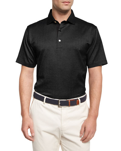 Mitch Herringbone Lisle Polo Shirt, Black