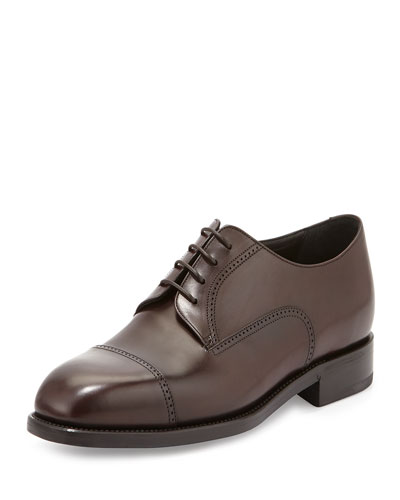 Cap-Toe Leather Derby Shoe, Burgundy