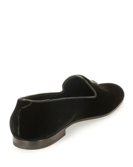 Velvet Tassel Slip-On Shoe, Black