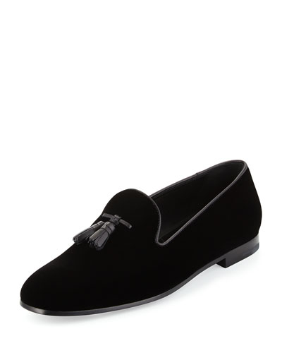Velvet Tassel Slip-On Shoe, Black