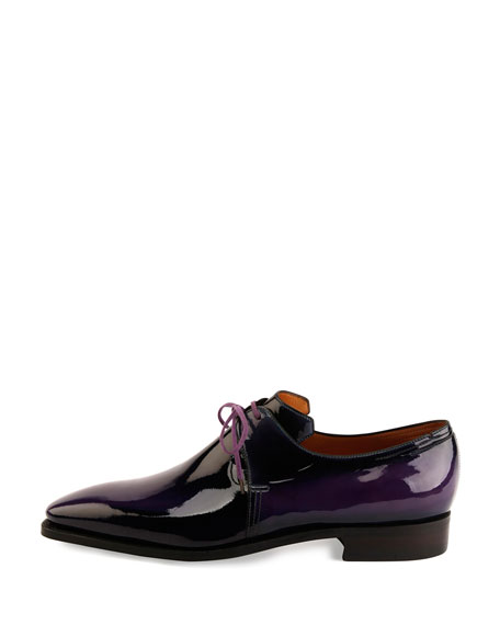 corthay arca patent leather derby shoe purple