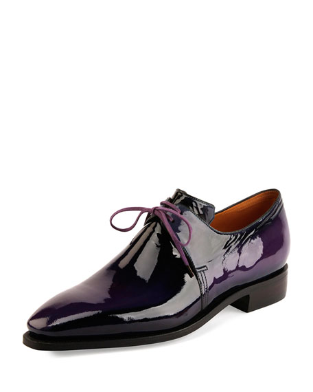 Corthay Arca Patent Leather Shoe, Purple
