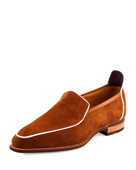 Corthay Brighton Calf Suede Loafer with White Piping,