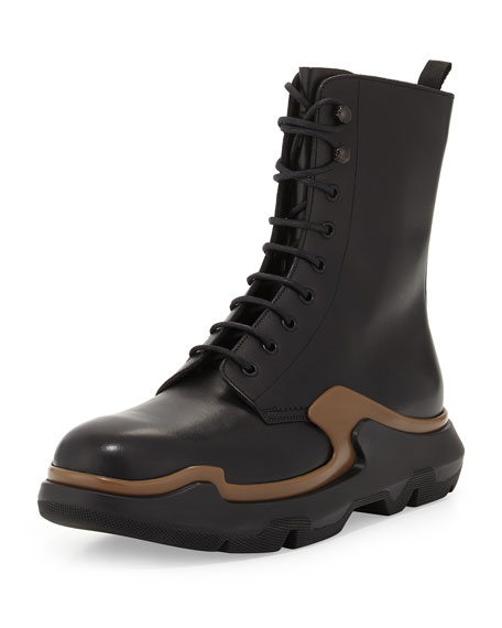 Prada Runway Lace-Up Leather Boot, Black/Brown