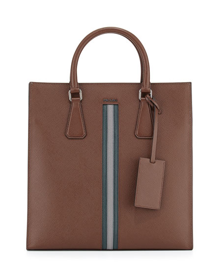 Prada Men's Large Calf Travel Tote Bag, Brown/Green/Gray