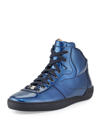 Eroy Patent Leather High-Top Sneaker, Blue
