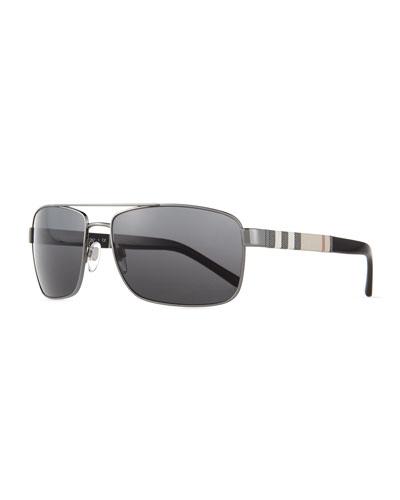 Check-Temple Aviator Sunglasses, Gunmetal