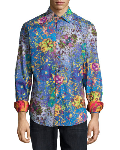Paint-Splatter Woven Sport Shirt, Blue