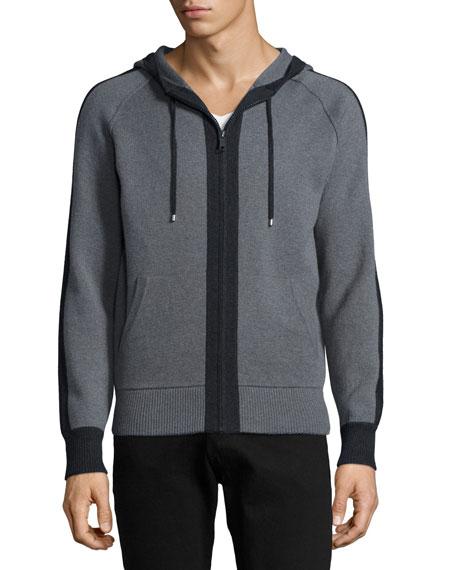 Neiman Marcus Full-Zip Hoodie with Contrast Placket, Gray