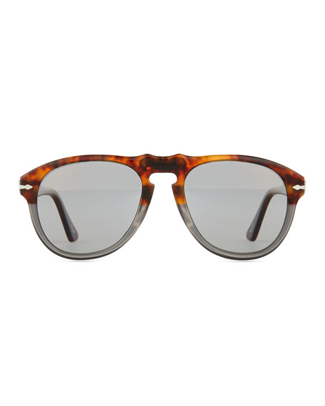 649-Series Acetate Sunglasses, Gray/Tortoise