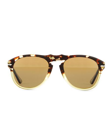 649-Series Acetate Sunglasses, Beige/Tortoise