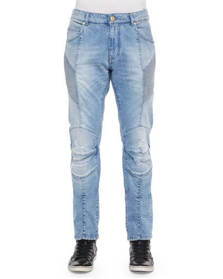 Pierre Balmain Distressed Moto Denim Jeans, Light Blue