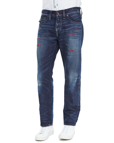 True Religion Geno Slim-Straight Distressed Denim Jeans, Blue