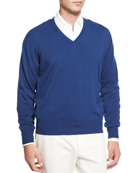 Loro Piana Baby Cashmere V-Neck Sweater, Indigo