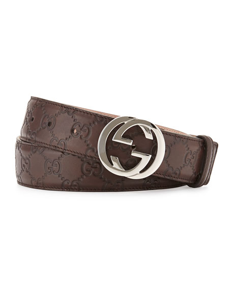 Gucci Interlocking G-Buckle Leather Belt, Chocolate