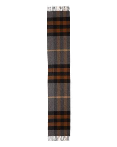 Men's Half Mega Check Cashmere Scarf, Brown/Gray