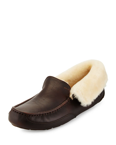 UGG Grantt Men's Leather Slipper, Dark Brown