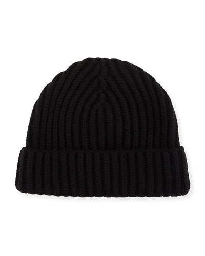 Ribbed Cashmere Beanie Hat, Gray Melange