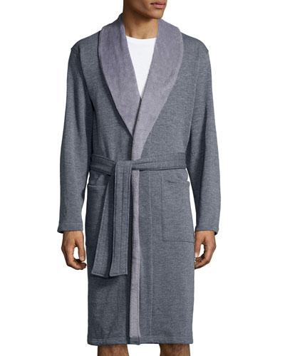 Robinson Shawl-Collar Long Robe, Gray