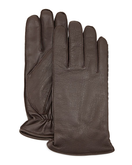 UGG Whip Tech Leather Gloves, Brown