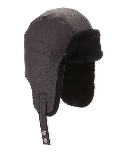 Corbett Leather Trapper Hat, Black
