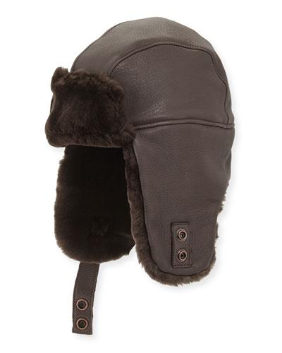 Corbett Leather Trapper Hat, Brown