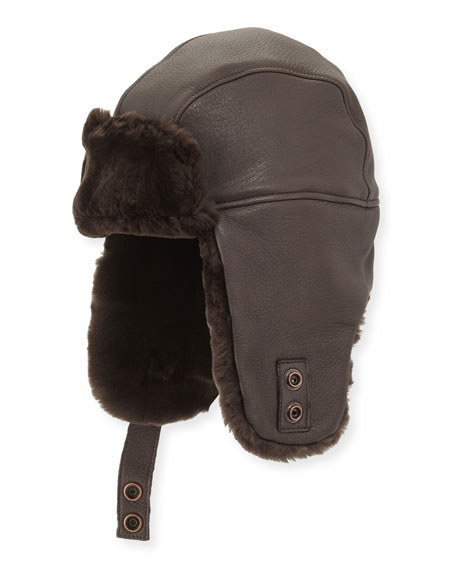 UGG Corbett Leather Trapper Hat, Brown