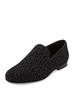 Sloane Men's Leopard-Print Loafer, Black