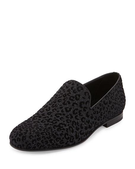 Jimmy Choo Sloane Men's Leopard-Print Loafer, Black