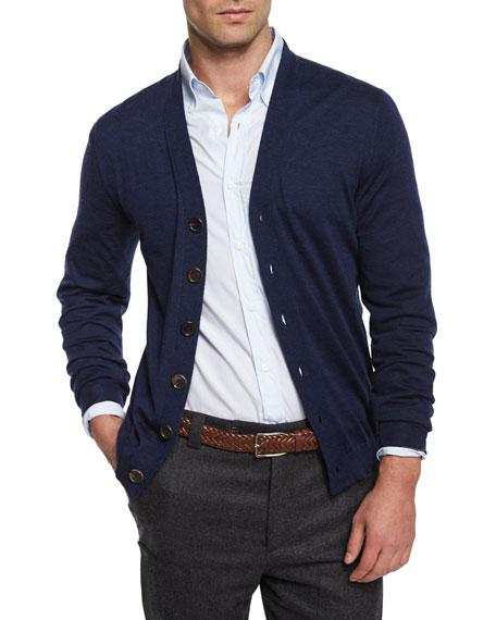 Brunello Cucinelli Wool-Blend Button Cardigan, Navy