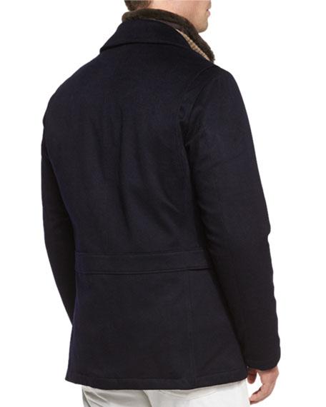 Cashmere Storm System Jacket, Navy