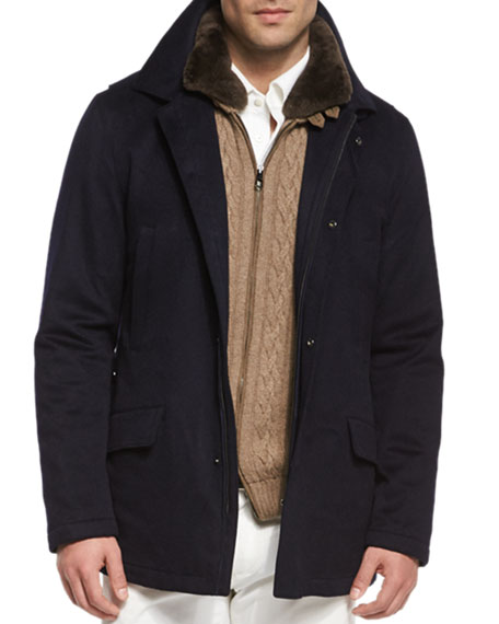 Loro Piana Cashmere Storm System Jacket, Cable-Knit Cashmere