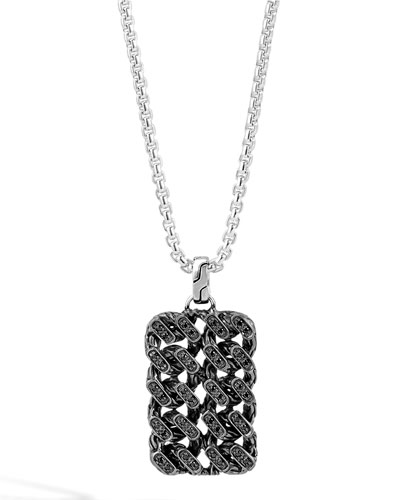 Classic Chain Gourmette Lava Dog Tag Necklace