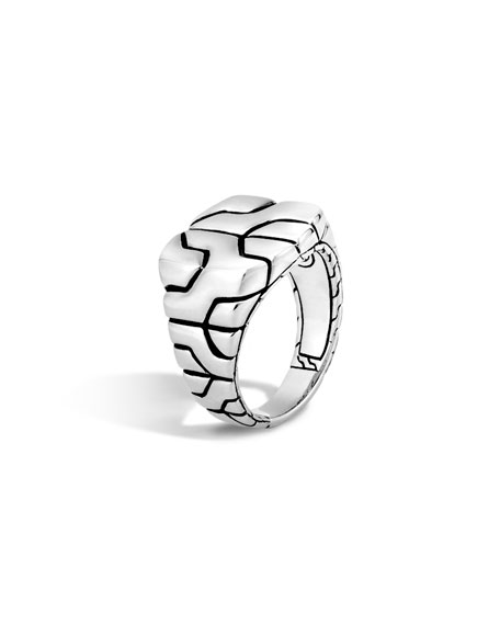Woven Silver Chain Square Ring