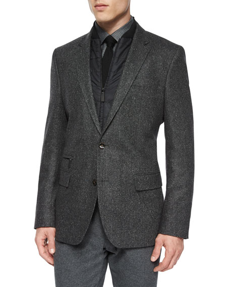 Boss Hugo Boss Herringbone Two-Button Jacket with Removable Gilet, Charcoal
