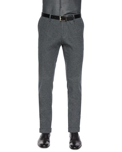 Flat-Front Cotton-Blend Trousers, Gray
