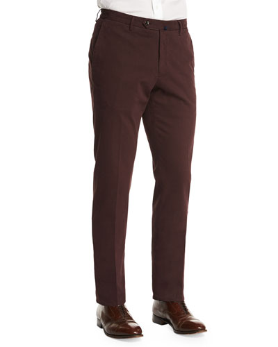Standard-Fit Brushed Stretch-Cotton Pants, Burgundy