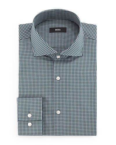 Jason Slim-Fit Mini-Gingham Dress Shirt, Green