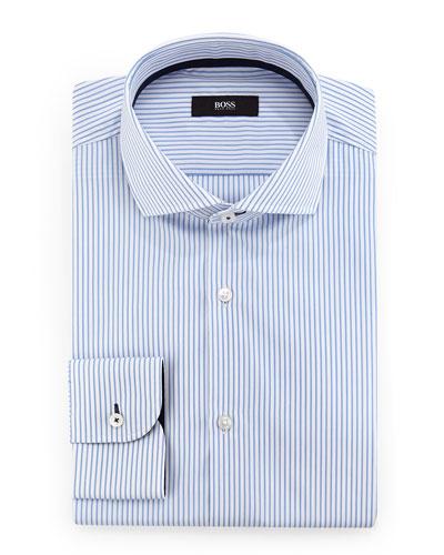 Jerry Slim-Fit Striped Dress Shirt, Blue/White