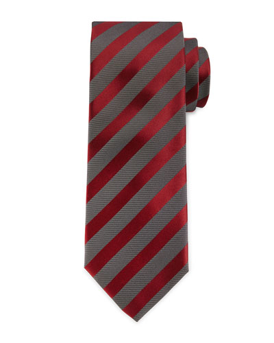 Diagonal-Stripe Silk Tie, Burgundy/Gray
