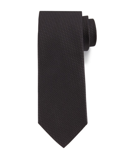 Textured Solid Silk Tie, Charcoal