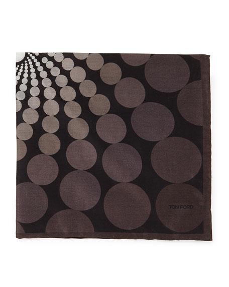 Floating Circle-Print Pocket Square, Gray