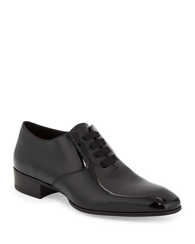 Gianni Patent Leather Lace-Up Shoe  Black
