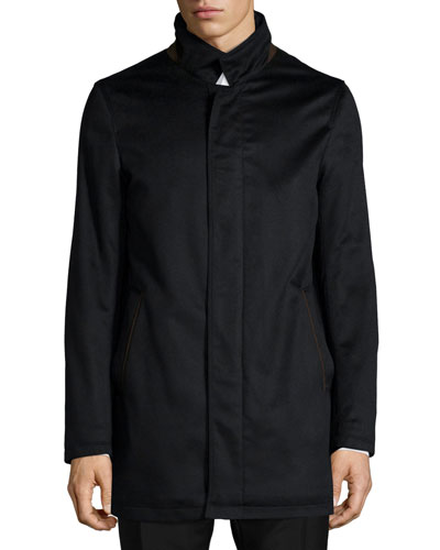Neiman Marcus New Solferino Cashmere Car Coat, Black