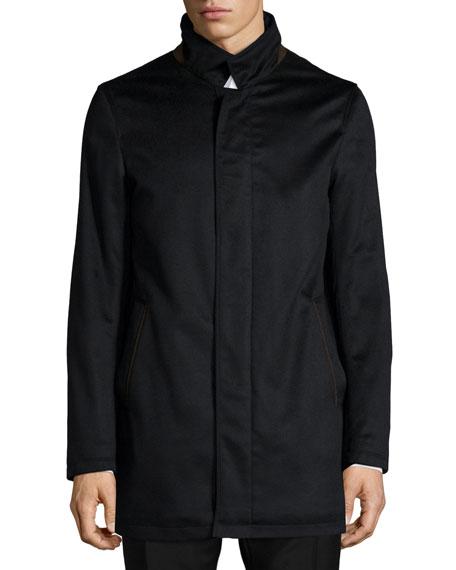 Neiman Marcus New Solferino Cashmere Car Coat, Black