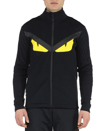 Monster Eyes Lightweight Zip-Up Jacket, Black