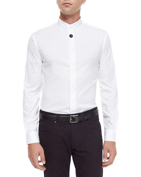 Armani Collezioni Mandarin-Collar Woven Shirt, White