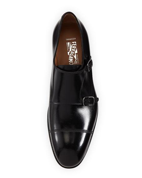 Tramezza Calfskin Double-Monk Shoe, Black